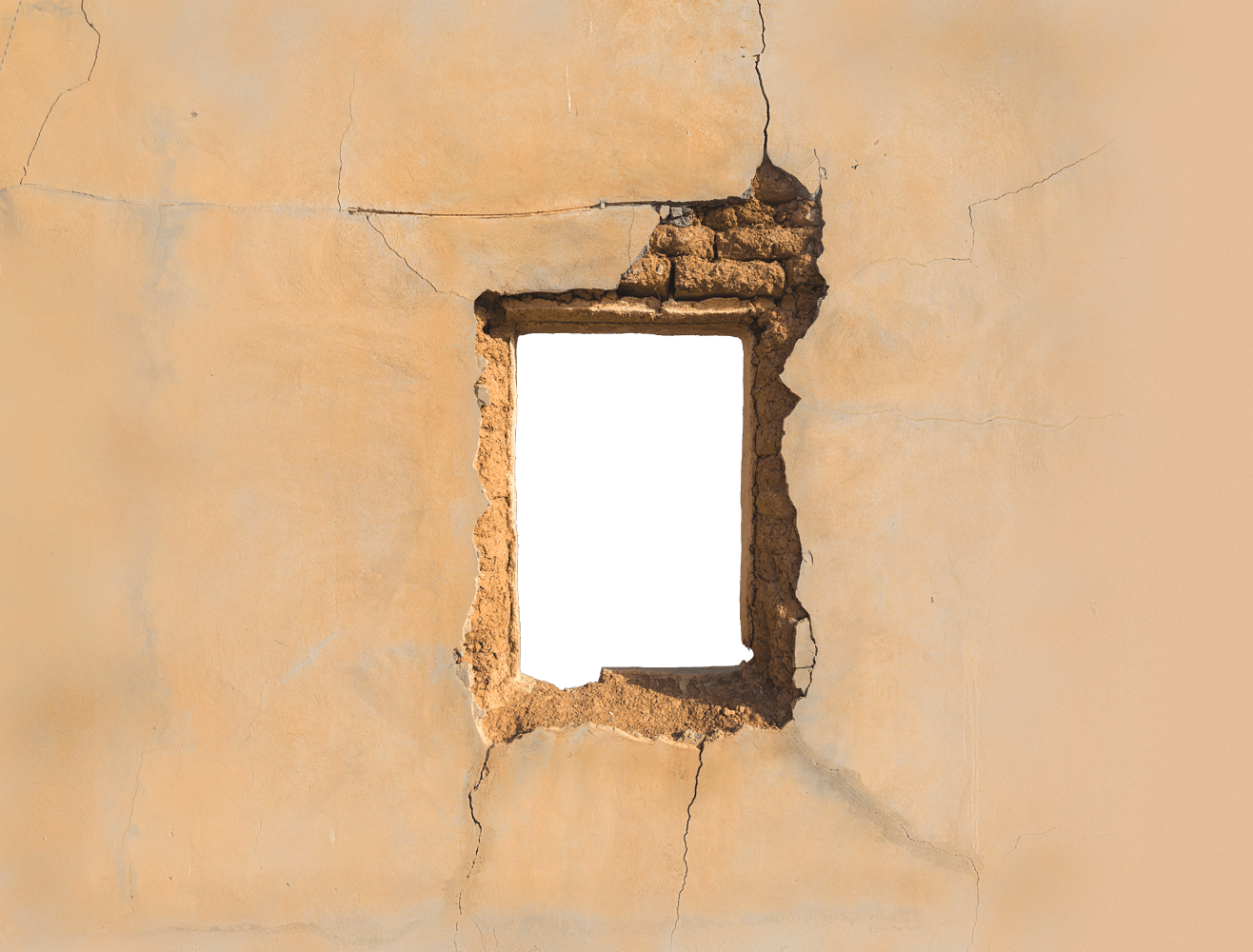 destroyed wall with window