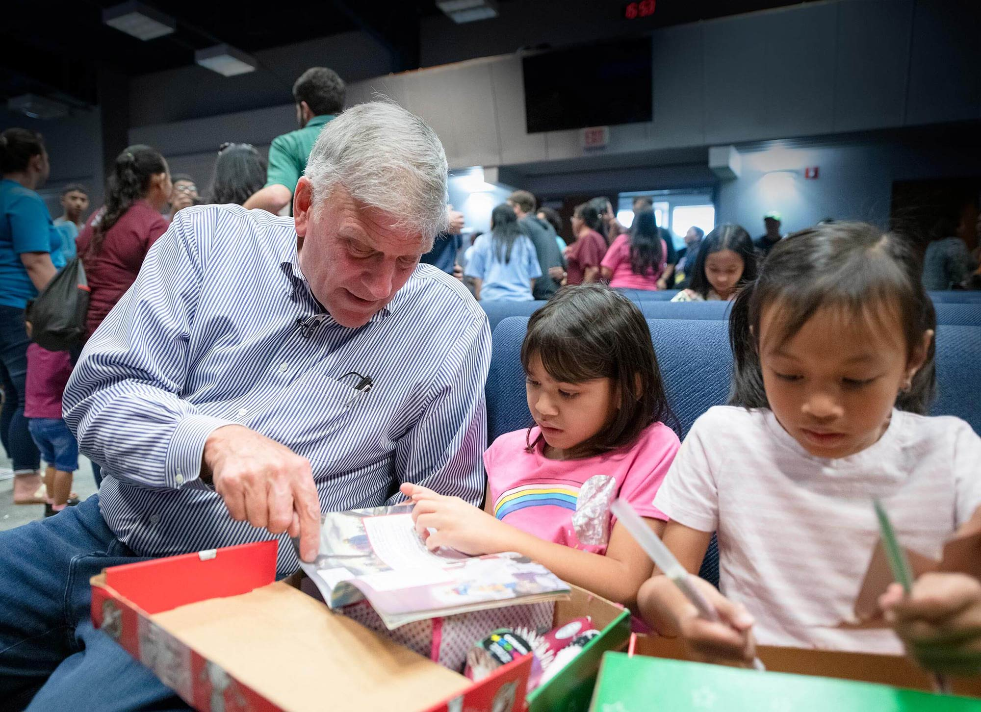 Samaritan's Purse President Franklin Graham with children from Guam